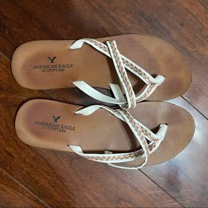 American Eagle White and Gold Sandals